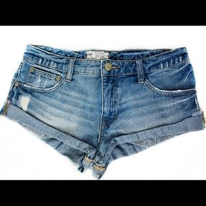 Free People Denim Cuff Shorts Distressed Low Rise